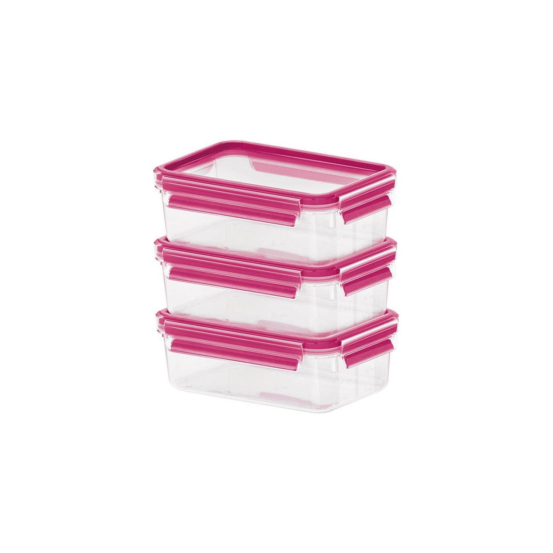Набор контейнеров CLIP &amp; CLOSE 3*0 55л розовыйНабор КЛИП&amp;КЛОУЗ состоит из трех контейнеров удобного объема. Часто требуется сохранить небольшое количество пищи или взять с собой обед либо перекус, поэтому небольшие емкости будут всегда востребованы в домашнем хозяйстве. Контейнеры герметично закрываются розовыми крышками с клипсой для дополнительной фиксации, поэтому пища не прольется и долго сохранит свежесть, полезные и вкусовые качества. Прямоугольные контейнеры не занимают много места, возможно использования для замораживания и подогрева в микроволновой печи.<br>