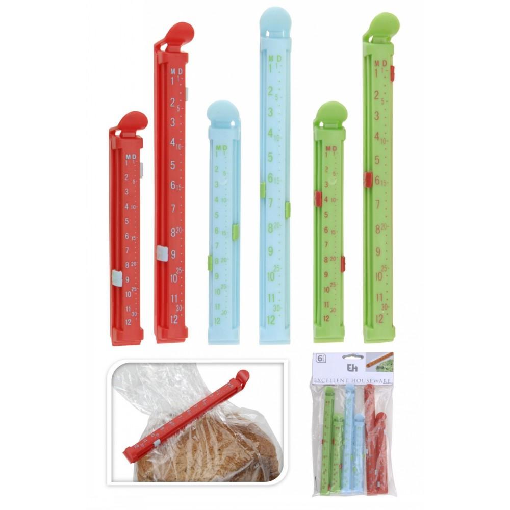 Набор зажимов д/пакетов 6 штНабор состоит из шести цветных зажимов. Трех по 11 см и трех по 16 см. Изделия выполнены из полипропилена. Могут быть использованы в морозильной камере. Они помогут надежно закрыть любые пакеты: мусорные, пищевые, с различными бытовыми предметами, и сохранят порядок в доме.<br>