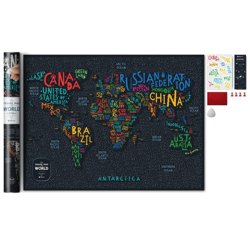 Карта Travel Map Letters World