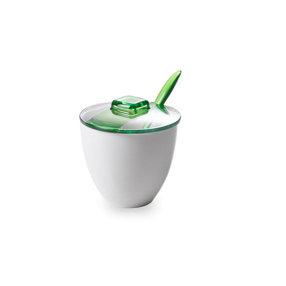 Сахарница с крышкой и ложкой 0,18 л Square, зеленая