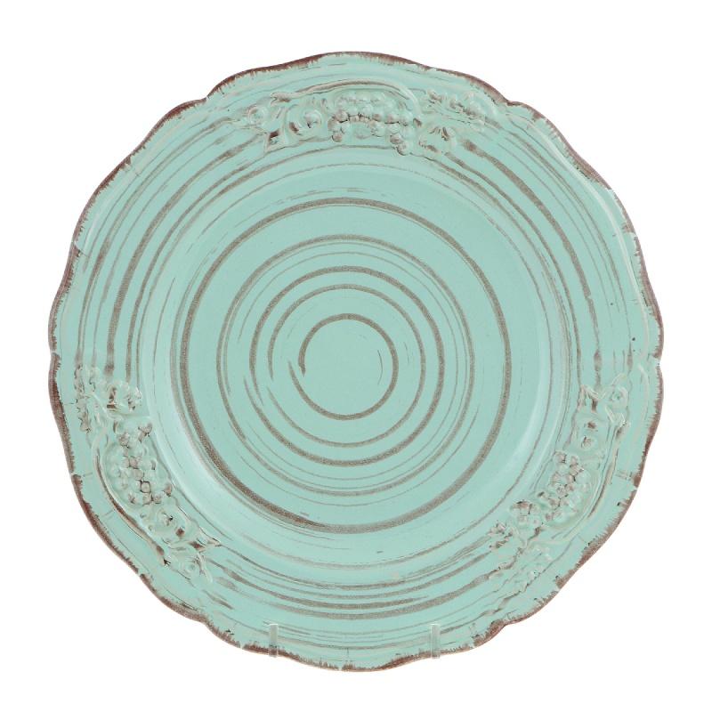 "Тарелка "",Барокко"", Royal Stoneware 22 см светло-зелено-коричневая"