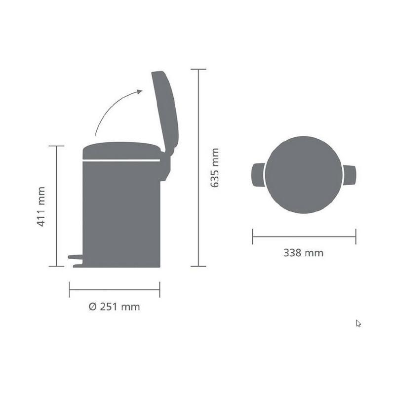 Купить Бак мусорный с педалью newIcon 12 л матовый с защитой от отпечатков пальцев, Brabantia