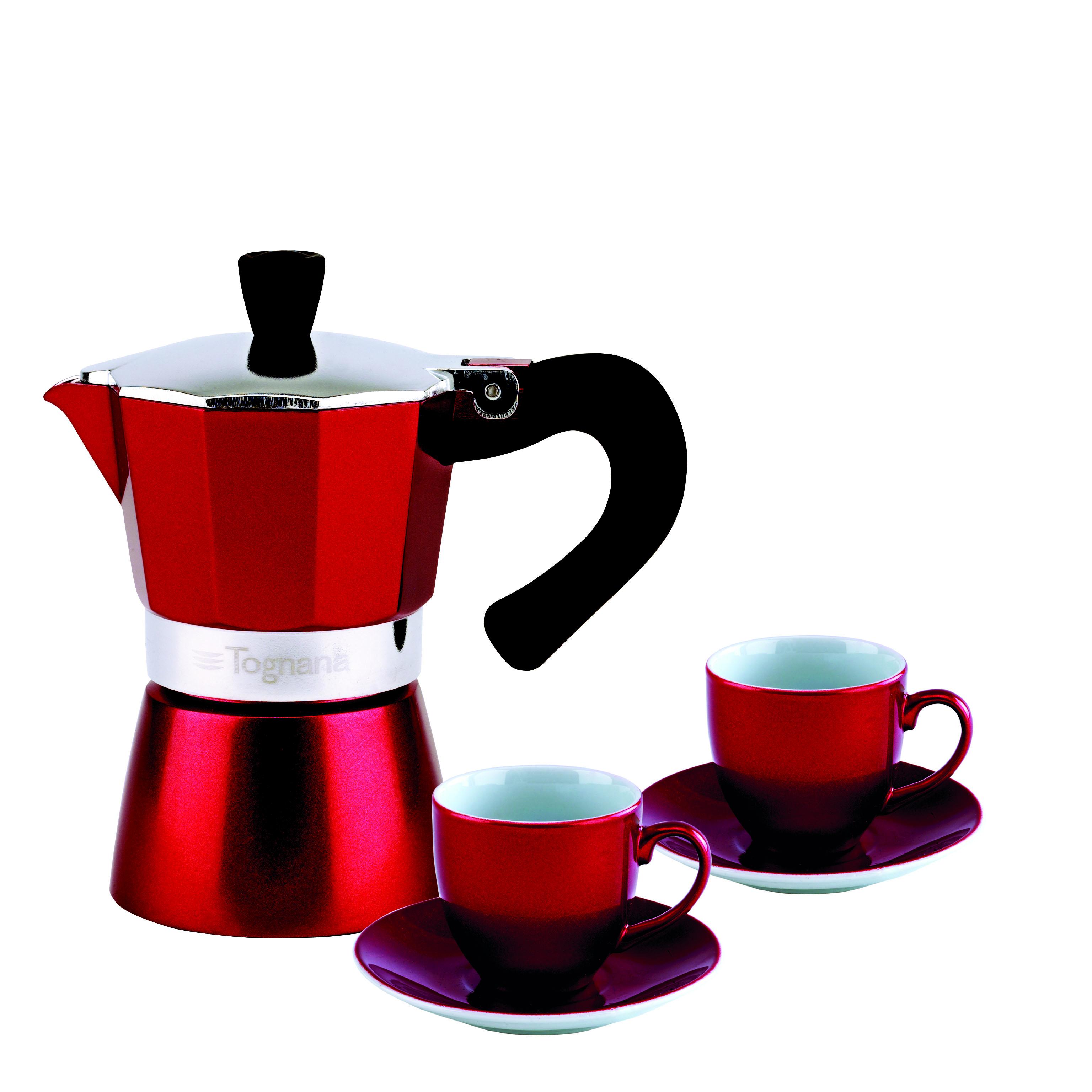 Набор для кофе 3 предмета GRANCUCINA (кофеварка гейзерная на 2 чашки+ 2 чашки с блюдцами) красный<br>