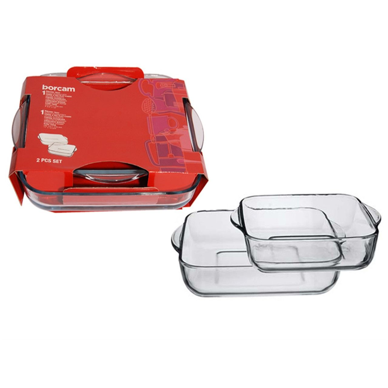 Набор форм д/запекания 2прНабор посуды для СВЧ 2 пр (2 квадр. лотка б/крышек 280*280мм и 220*220мм) 3л + 1,6 л<br>