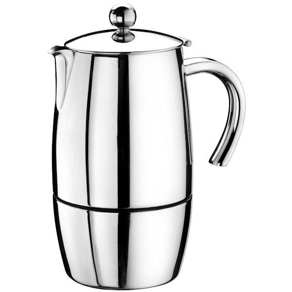Кофеварка гейзерная MAGNA на 6/3 чашкиPintiinox является ведущей компанией по производству предметов домашнего обихода из нержавеющей стали. Любителям кофе непременно подойдет гейзерая кофеварка Magna. Стильная, современная она впишется в любой интерьер.<br>