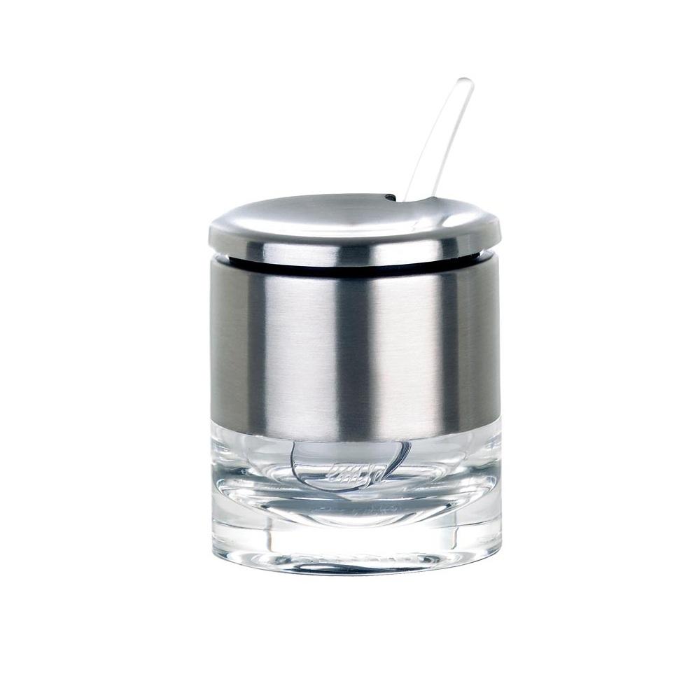 Банка многоцелевая с ложкой 150 мл ACCENTAМинималистичный дизайн баночки с ложкой ACCENTA от EMSA идеально впишется в интерьер любой кухни. Подойдет для горчицы, варенья, сахара и пр.<br>