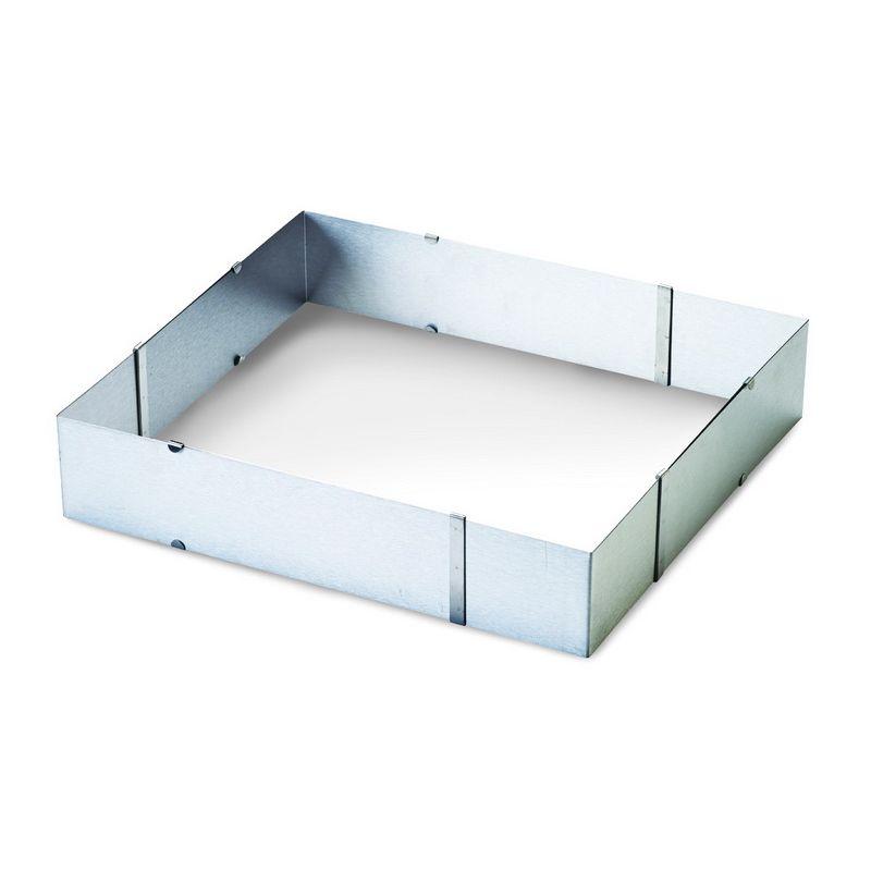 Форма кондитерская раздвижная прямоугольная 24*20 см - 46*38смФорма кондитерская раздвижная прямоугольная станет настоящим приобретением для каждой хозяйки. Благодаря раздвижному механизму вынимать десерт из формы после выпечки не составит труда. К тому же представленная форма дает возможность создавать тирамису, чизкейки и другие лакомства идеальной прямоугольной формы. Изделие выполнено из качественной долговечной стали, что гарантирует его долгий срок службы. Форма неприхотлива в уходе и легко очищается.<br>