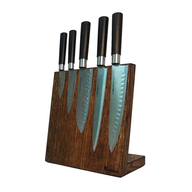 Посдтавка для ножей магнитная 5 ножей Woodinhome дуб темный