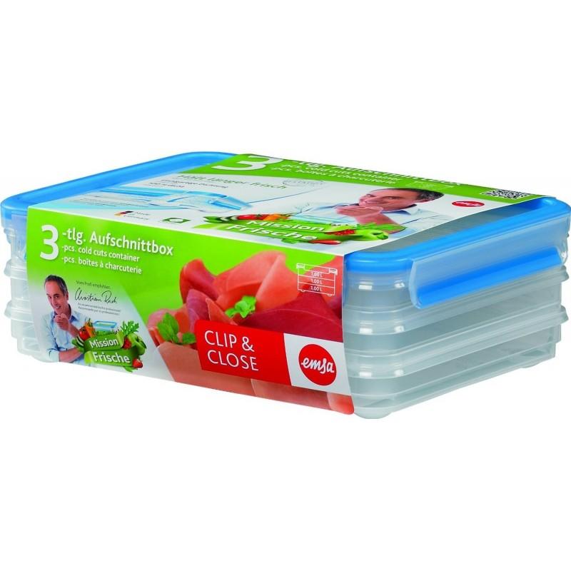 Набор контейнеров 3 шт. CLIP &amp; CLOSEНемецкий бренд EMSA дарит жителям мегаполисов прекрасные аксессуары для дома и загородных домов, которые всегда радуют покупателей своим ярким и стильным дизайном и функциональностью. Набор из двух прозрачных контейнеров коллекции CLIP &amp; CLOSE - это очень удобные аксессуары для дома и кухни, которые помогут Вам правильно хранить продукты питания. Они отлично подходят для заморозки, а также хорошо переносят хранение в холодильнике. Контейнеры не требуют специального ухода и легко моются в посудомоечной машине.<br>