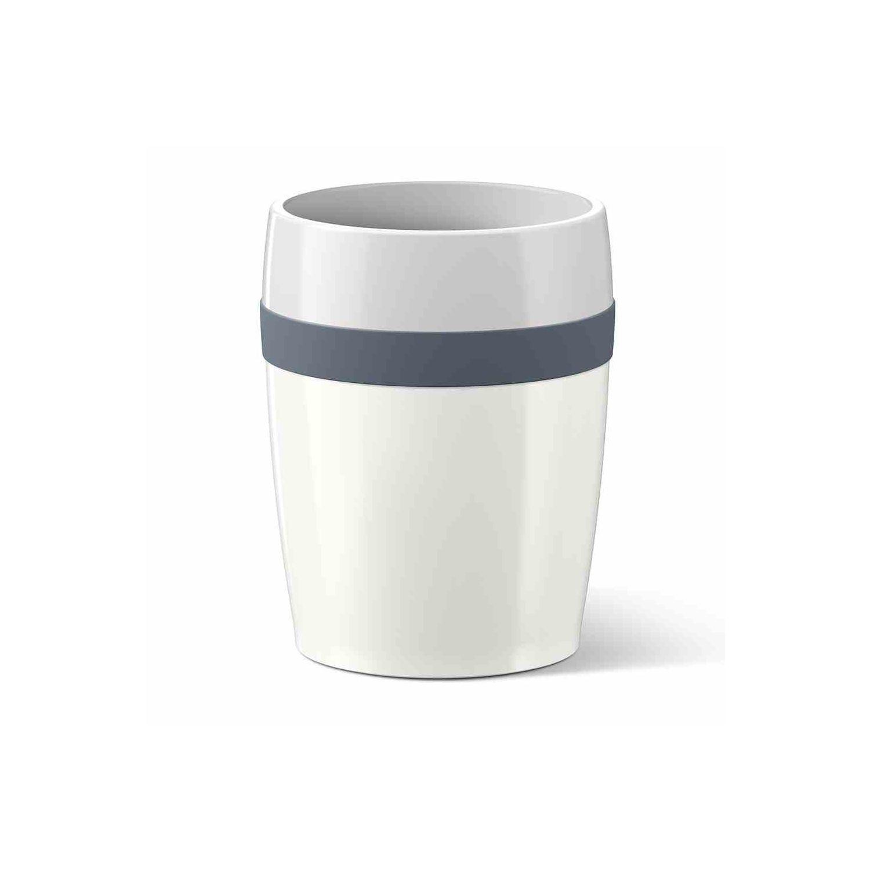 Термостакан TRAVEL CUP Ceramic 0 2 л белый/серыйНебольшой термостакан ТРЭВЭЛ КАП Керамик выполнен в лаконичном дизайне из белой керамики, украшенной стильной серой полосой. Используемые материалы надолго сохраняют тепло помещенных в стакан напитков. Термостакан прекрасно впишется в интерьер автомобиля своим скромным дизайном и размерами, подходящими для автомобильных держателей бутылок. Прекрасный презент для человека, много времени проводящего в пути и ценящего хороший кофе либо душистый чай.<br>