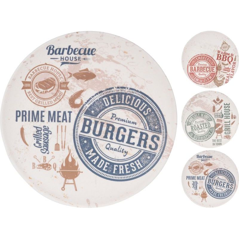 Тарелка 20 см &quot,Burgers&quot, в ассортименте