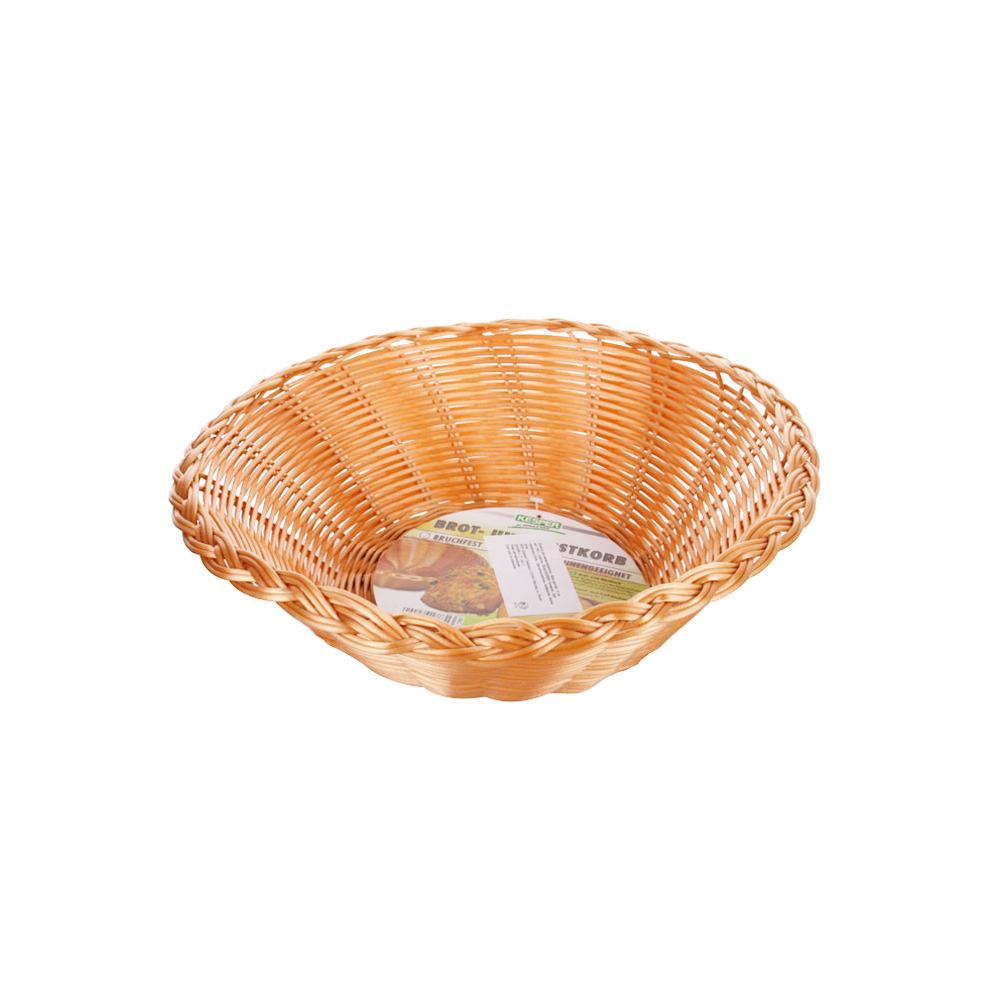 Корзина круглая для хлеба д.31 смОчень натуральная имитация под ивовое плетение выполнена из пластика, безопасного для продуктов. Подходит для выпечки, фруктов, конфет. Корзина легкая и легко моется.<br>