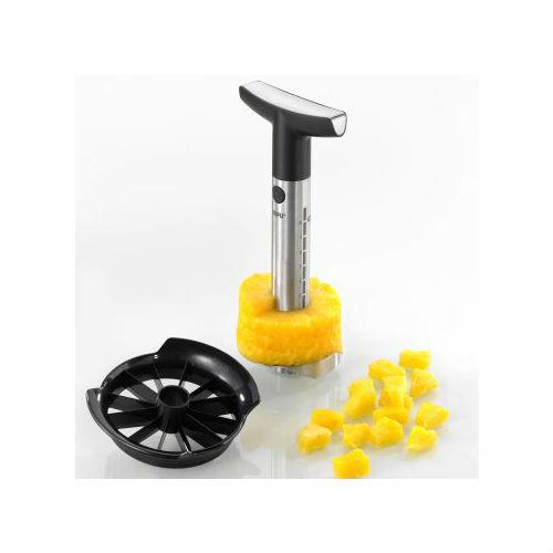 Слайсер для ананаса Аффетта, нерж 1 металлическийСпайсер для ананаса Gefu сделан из высококачественной нержавеющей стали с насадкой для нарезки на кубики. С таким спайсером нарезка ананаса становится просто незаметной. Он имеет очень острую режущую лопасть и удобную эргономичную ручку, чтобы Вы могли с легкостью его прокручивать.<br>