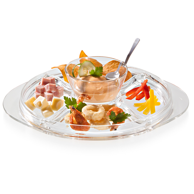Менажница 4-х секционная RIALTOVidivi производит посуду и различные предметы для кухни и дома. Менажница - это замечательный аксессуар, поскольку с ним можно красиво подать блюдо или фрукты, к тому же, она стильная и будет элегантно смотреться на столе.<br>