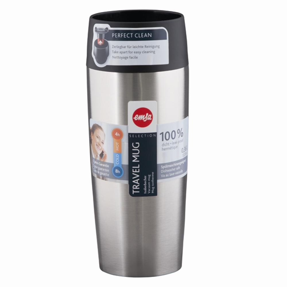 Термокружка TRAVEL MUG 0,36 л черная, стальГерметичность,удобство в использовании, способность держать температуру горячих напитков до 4-х часов, а холодных - до 8-ми, крышка легко снимается и моется - вот основные свойства этой кружки.<br>
