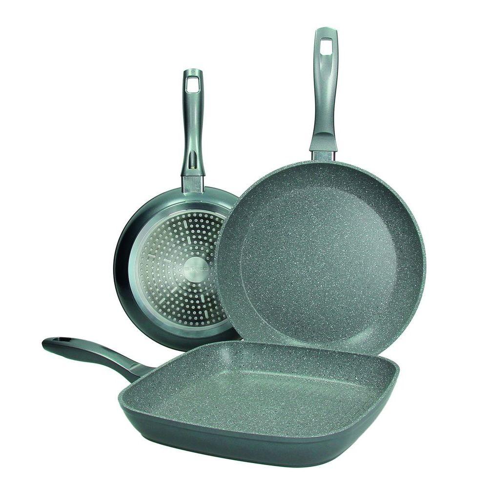 Набор сковород 3 шт (24+28 см+ гриль 24*24см) GREYLITE   ANTIAD.MARBLE GRIGIO(IN/EST)Набор сковород 3 шт (24+28 см+ гриль 24*24см) GREYLITE   ANTIAD.MARBLE GRIGIO(IN/EST)<br>