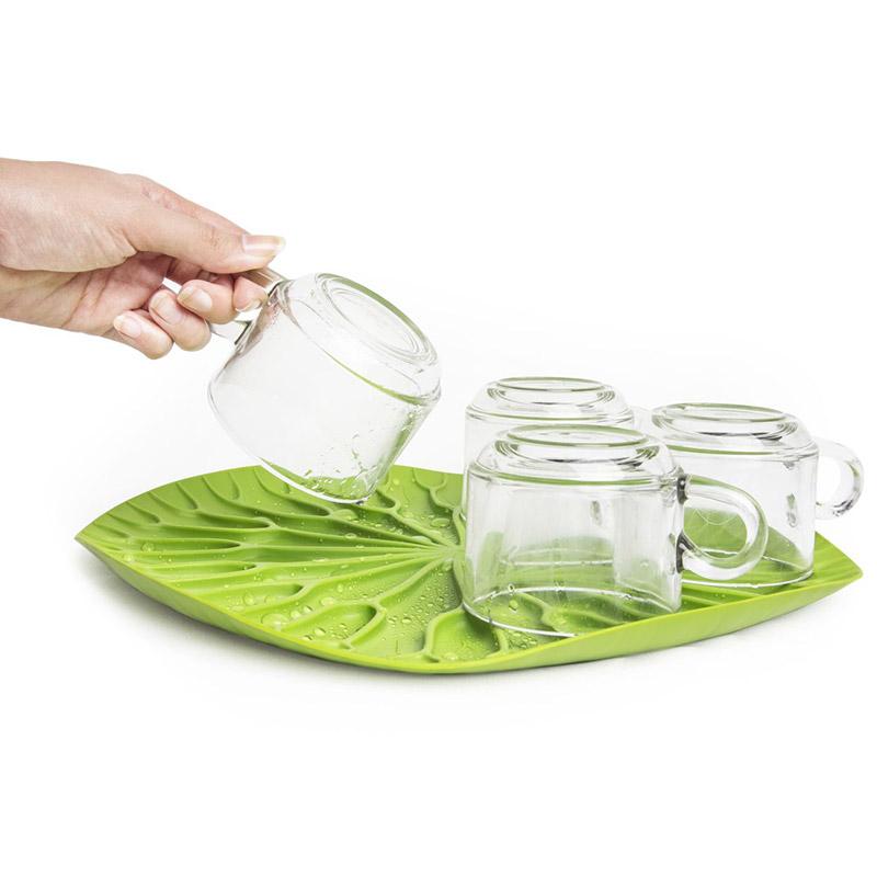 Сушилка-поднос Qualy Lotus зеленая