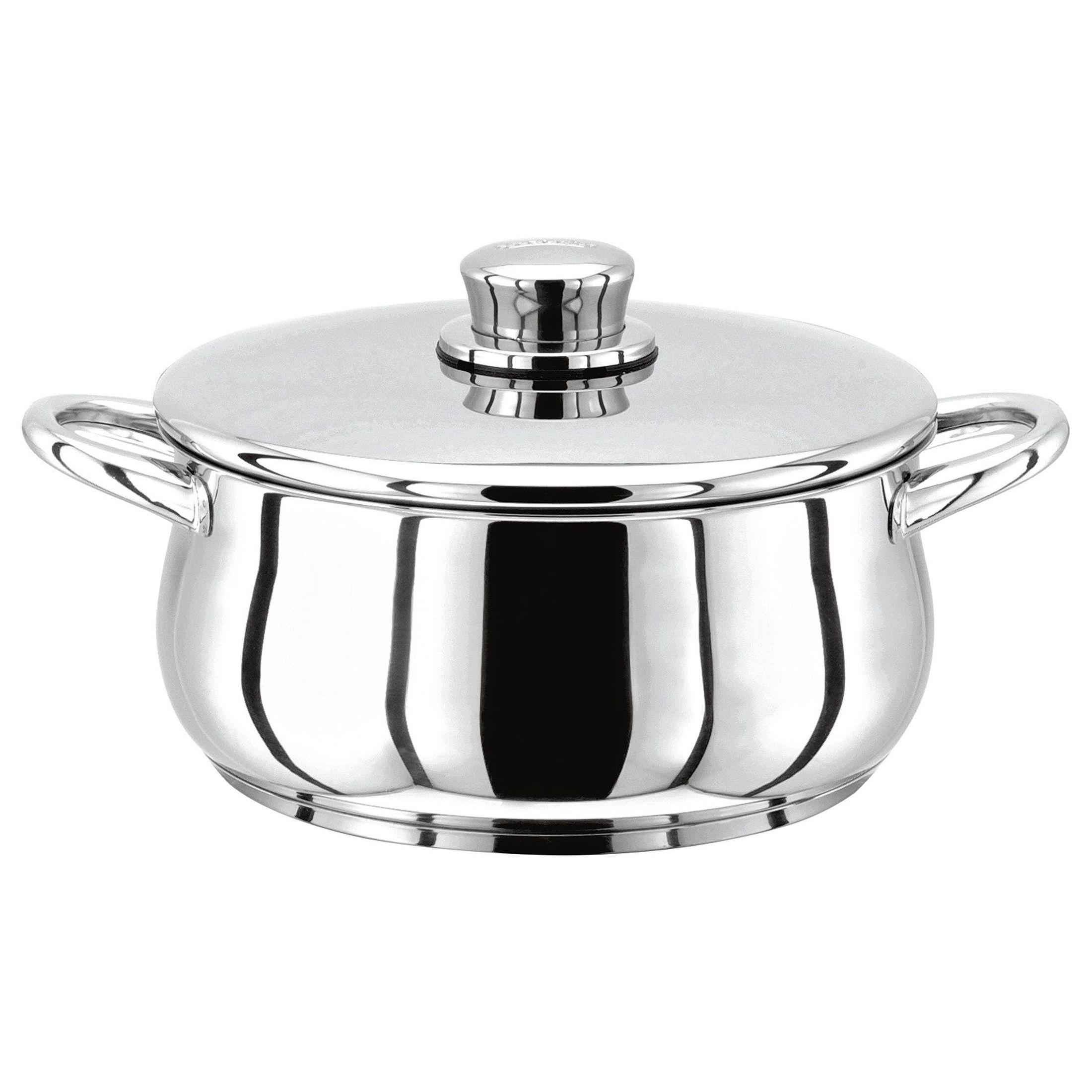 Stellar 1000 Кастрюля20 см, 2 лКлассическая английская форма посуды в сочетании с непревзойденным европейским качеством. Дно посуды изготовлено методом горячей ковки, что гарантирует равномерное распределение тепла на всех типах варочных панелей. Хромированная нержавеющая сталь.  Пригодны для использования в духовке (до 240 гр. С).<br>