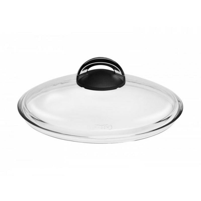 Крышка стеклянная с бакелитовой ручкойКрышка от OURSSON изготовлена из термостойкого стекла фирмы Pyrex. Ручка у крышки из бекелита, способного выдерживать высокие температуры и не нагреваться.<br>