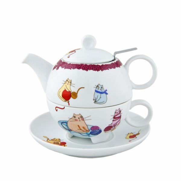 Набор Чай для одного Крейзи КэтсСервировка<br>Набор чай для одного Крейзи Кэтс изготовлен из фарфора белого цвета с ярким оригинальным рисунком. Идеально впишется в интерьер Вашей кухни и украсит Ваше чаепитие.<br>