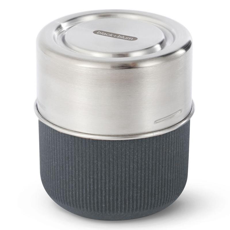 Ланч-бокс 450 мл Black+Blum Glass lunch pot серый.