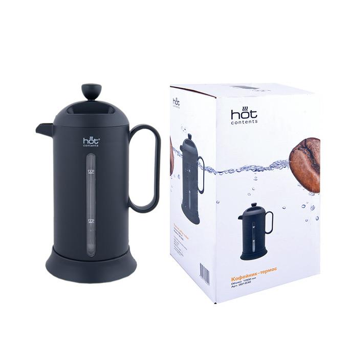 Кофейник-термос, 1000 мл чёрныйИнтересный по задумке дизайнеров черный кофейник-термос будет незаменимой вещью на кухне Вашего дома, в офисе или на природе. Вы сможете приготовить в нем свой любимый напиток, угостить им своих знакомых, друзей и он будет оставаться теплым намного дольше, чем обычно.<br>