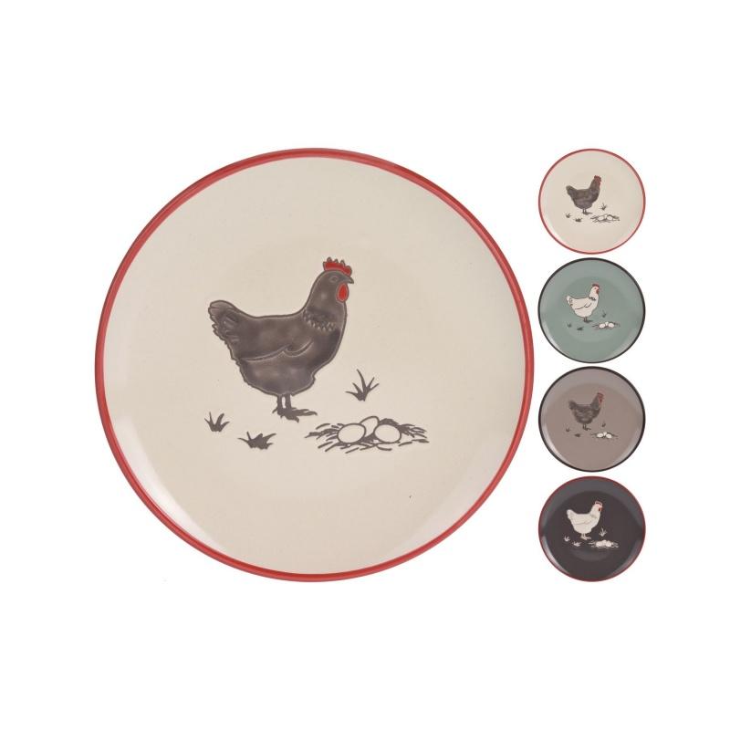 Тарелка КурочкаОбеденная тарелка составляет основу сервировки любого стола. Тарелка от производителя Экселент хаусвэре предназначена для подачи основного горячего блюда (мясного или рыбного). Такую тарелку можно назвать универсальной, ведь эргономично удобная круглая и плоская форма позволяет подать к столу сырные, слоеных, фруктовые нарезки или закуски из морепродуктов. Изделие изготовлено из надежных и долговечных высококачественных материалов, благодаря чему товар прослужит вам не один год. Тарелка имеет милый рисунок в виде деревенской курочки и имеет несколько цветовых вариантов.<br>