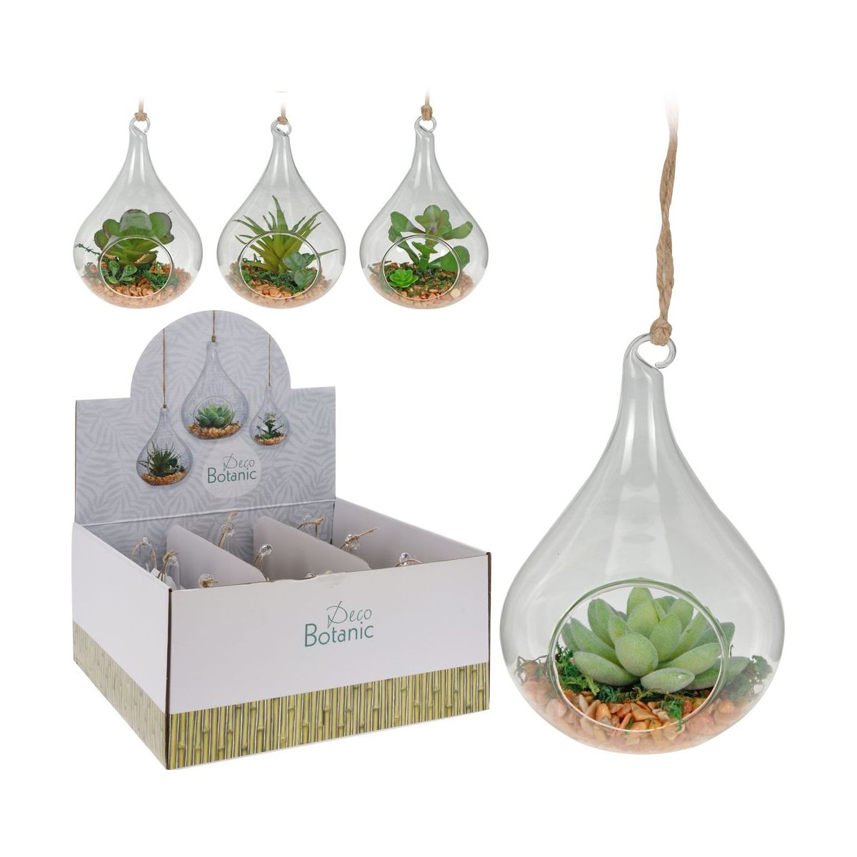 Декор подвесной с искусственным растением