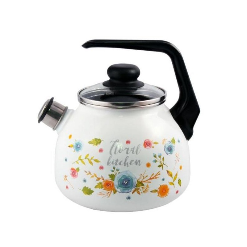 Чайник эмалированный со свистком 3 л Appetite Floral Kitchen