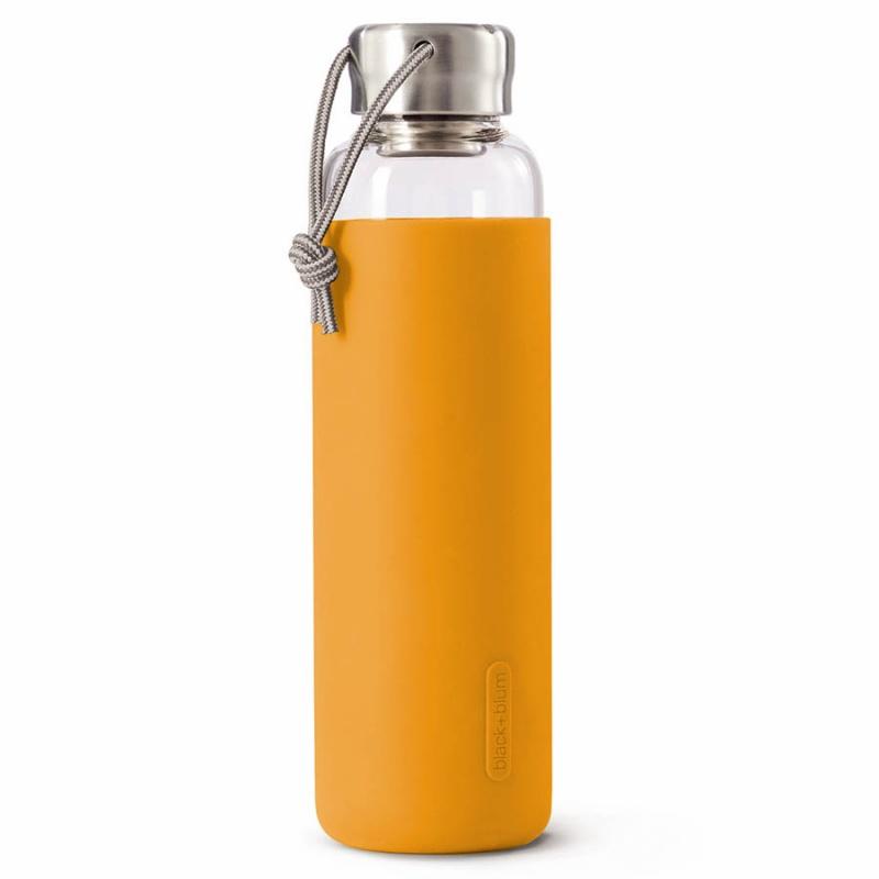 Бутылка для воды стеклянная 600 мл Black+Blum оранжевая.