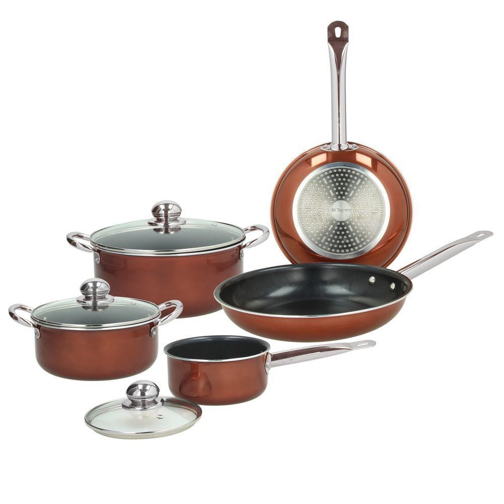 Набор посуды 8 предметовНабор посуды 8 предметов DELUXE VINTAGE-KITCHEN BATT (сковорода 24см, сковорода 28см, кастрюля 20 см, кастрюля 24 см, ковш 16 см, крышки стекл. 16см, 20 см, 24 см)<br>
