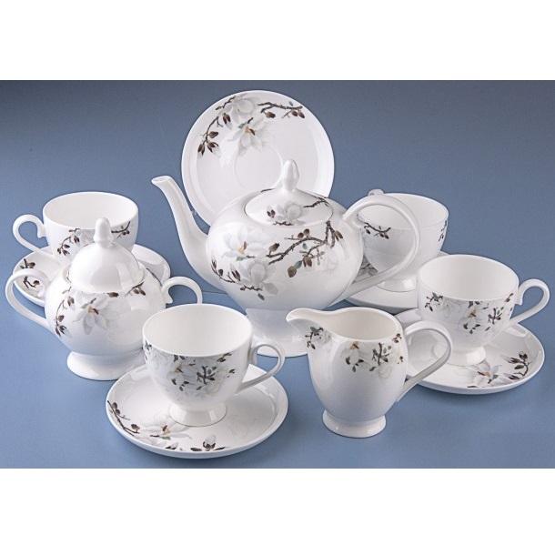 """Сервиз чайный на 6 персон """"Магнолия"""" 15 предметов"""