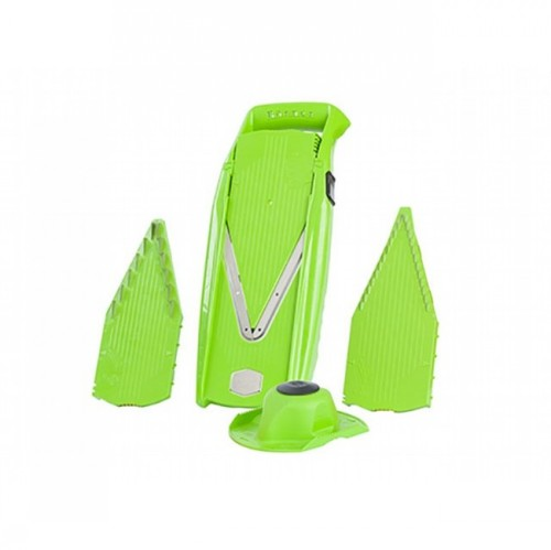 Овощерезка ПРИМА ПЛЮС (5 предметов)Терка имеет множество функций, которые изменяются благодаря кнопки на раме. Таким образом получается терка-полуавтомат, прочная с высококачественными ножами. В основную раму можно попеременно вставить 3 вставки: плоская, режет колечками разной толщины; вставка с ножами в 7 мм., позволяет нарезать соломкой, брусочками и кубиками толщиной 7*7 и 7*3,5; вставка с ножами 3,5 мм., позволет нарезать соломкой, кубиками, брусочками толщиной 3,5*3,5 и 3,5*1,8 мм. Также в комплект входит бокс для вставок. Незаменимая вещь на вашей кухне.<br>