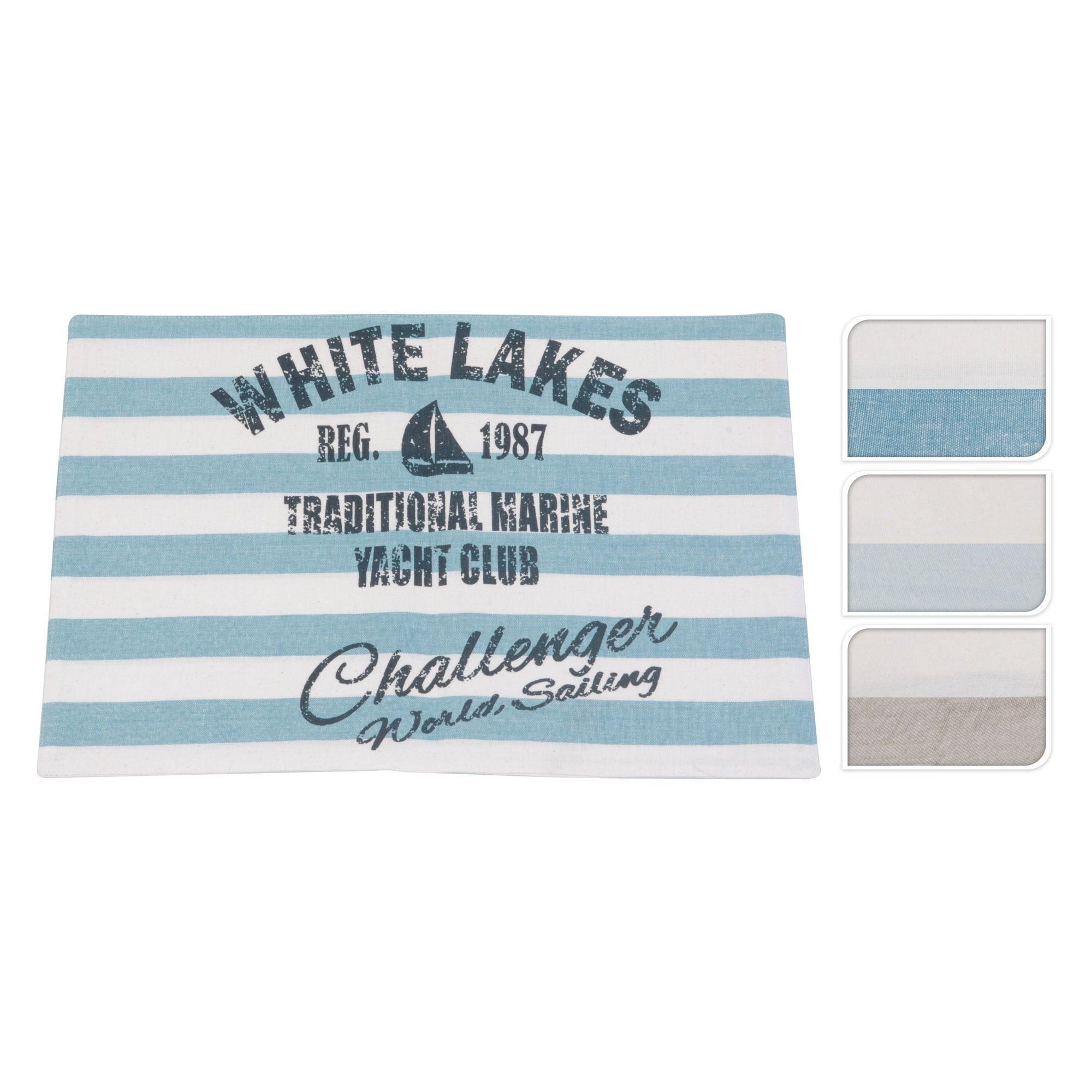 Салфетка сервировочная White lakes в ассортиментеСалфетка White lakes –- непременный атрибут украшения стола. Выполненное из натурального хлопка изделие надежно защищает поверхность не только от царапин, но и темных следов от горячей посуды. Надпись на салфетке, оформленной в дизайнерском стиле, напоминает о регате на Белом озере. Изделие станет гармоничным дополнением сервировки стола. Простроченный край модели не дает плетению рассыпаться. Она отлично выдерживает ежедневную эксплуатацию и легко поддается чистке. Салфетки послужат украшением даже самого невзрачного интерьера и подчеркнут хороший вкус хозяйки.<br>