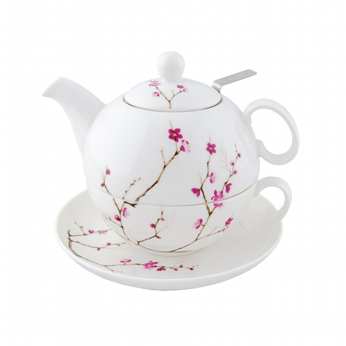 Набор чай для одного Цветущая сакураНабор чай для одного Цветущая сакура изготовлен из костяного фарфора белого цвета. Идеально впишется в интерьер Вашей кухни.<br>