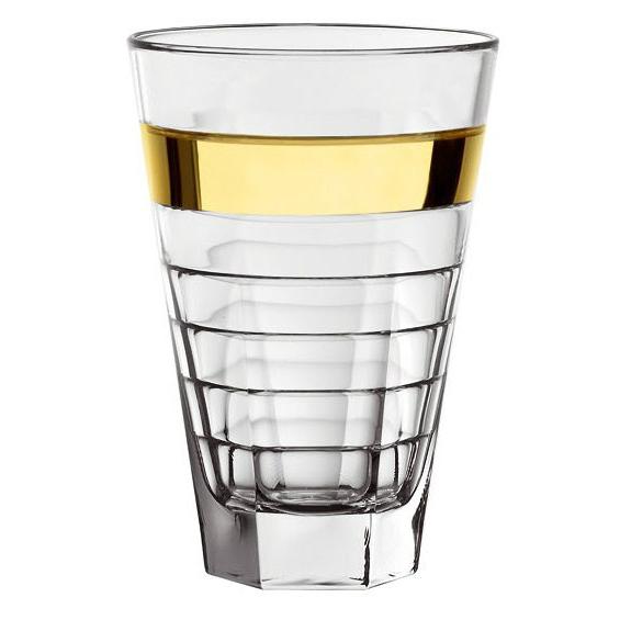 Стакан, золотая полоса 0,34 л. BAGUETTEИтальянская мануфактура Vidivi является мировым производителем изделий из стекла и стеклянной посуды. Качество и инновации в каждой детали в сочетании с неповторимым итальянским дизайном в венецианском стиле делают бренд настоящим лидером на рынке. Необычные по стилю и дизайну стаканы из высококачественного стекла с золотой полосой могут стать изысканным элементом на Вашем столе. Такая посуда порадует любого. гостя, а также подарит домашним эстетическое удовольствие. Кроме того, такие красивые стаканы могут стать очень хорошим подарком.<br>