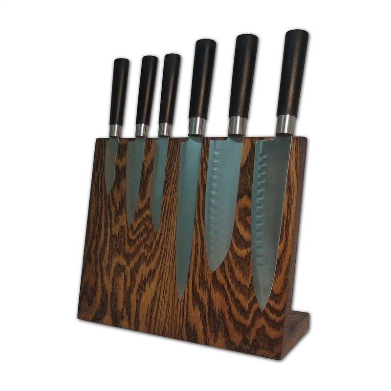 Посдтавка для ножей магнитная 6 ножей Woodinhome дуб темный
