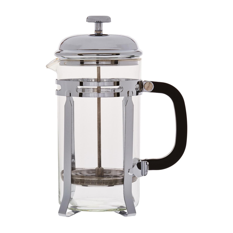 Кофейник с прессом 1000млКофейник с прессом известного производителя качественной посуды Магиа Густо поможет быстро и легко приготовить ароматный кофе как в домашних условиях, так и во время офисного кофе-брейка. Устройство обладает прочной конструкцией, оно изготовлено из прозрачного стекла и нержавеющей стали. После приготовления горячего напитка вы сможете наполнить чашку вкусным кофе, а нерастворимые частицы и кофейная гуща останутся на дне кофейника. Он способен долго сохранять кофе горячим.<br>