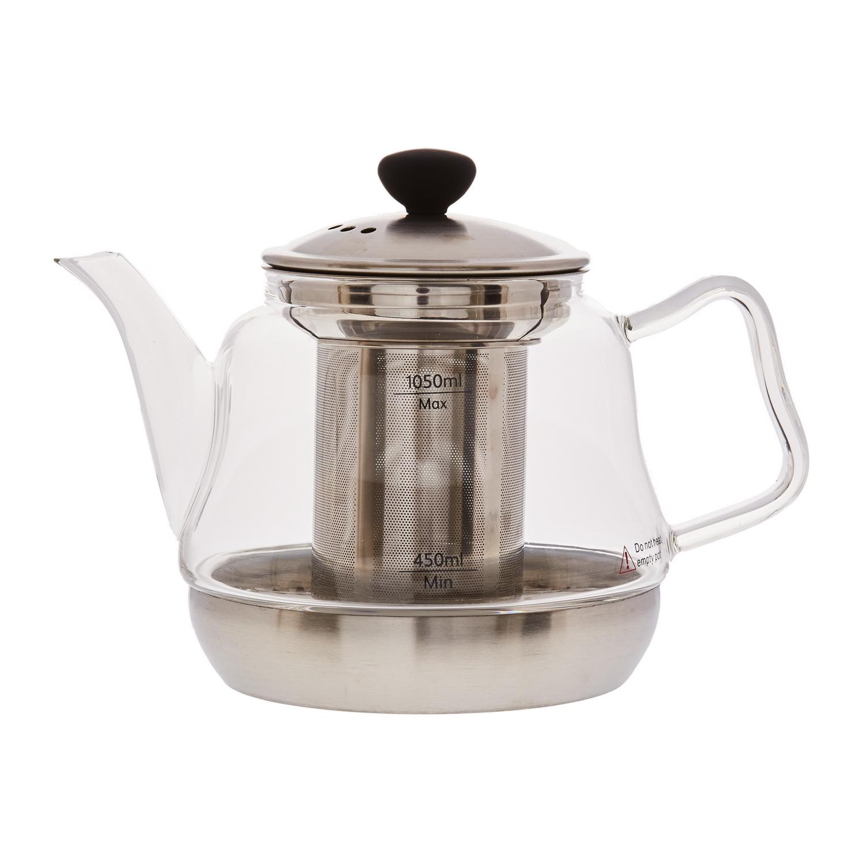 Чайник заварочный стеклянныйс индукционным диском Да-Хун , с фильтром 1050млСтеклянный чайник Да-Хун подходит для заваривания экзотических сортов чая, которым для полного раскрытия вкуса и аромата требуется нагревание на плите. Благодаря индукционному диску на дне, модель можно смело ставить на огонь и кипятить воду прямо в нем. В крышке имеются отверстия для отведения лишнего пара.Чайник оснащен прочным стальным фильтром для заварки. Ручка выполнена из стекла. Его эргономичная форма позволяет удобно и без усилий держать даже полный чайник. Крышка снабжена пластиковой накладкой, чтобы не обжечься при необходимости открыть ее и добавить заварки.<br>