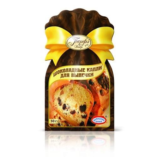 Капли шоколадные50 г.Шоколадные капли от Парфэ предназначены для использования в наполнителе тортов, рулетов, булок, мороженого и прочих сладких изделий. С ними ваши блюда станут настолько вкусными и неповторимыми, что оторваться от них будет просто невозможно!<br>