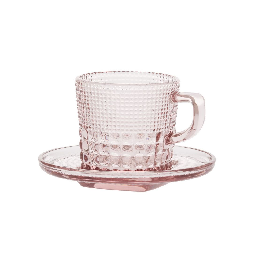 Чашка с блюдцем кофейная Royal drops, розовыйЧашка с блюдцем кофейная Роял дропс представляет собой стильную пару в оригинальном и ярком дизайне. Она станет настоящим украшением вашего стола и подойдет как для повседневного использования, так и для торжественных случаев, для дома и офиса, а также для кафе и баров. Модель выполнена из усиленного цветного стекла с необычным рельефным декором. Толстое стекло эффективно сохраняет первоначальную температуру напитка. Оптимальный объем модели подойдет как для эспрессо, так для американо. Чашка с блюдцем кофейная Роял дропс – лучший выбор для ценителей кофе и чаепитий.<br>