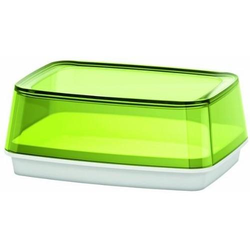 Масленка зеленая/белая VIENNAНемецкий бренд EMSA дарит жителям мегаполисов прекрасные аксессуары для дома и загородных домов, которые всегда радуют покупателей своим ярким и стильным дизайном и функциональностью. Пластиковая масленка данного бренда поможет Вам правильно хранить продукты питания, а благодаря своему современному и стильному дизайну в летнем зеленом цвете всегда будет уместно выглядеть на столе. Идеально для хранения масла в холодильнике.<br>