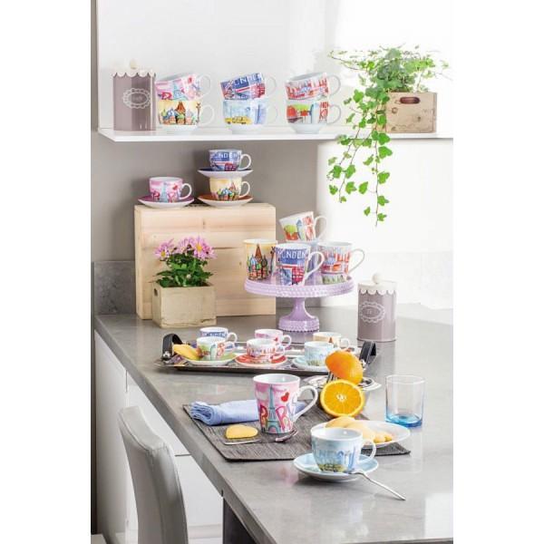 Чашка для капучино IRIS CITYTognana производит фарфоровую и стеклянную посуду. Главный девиз компании - качество и долговечность, соответственно, к производству каждого предмета компания подходит очень ответственно. Чашка - один из самых полезных предметов на кухне.<br>