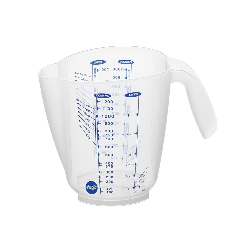 Стакан мерный 3 шкалы, 1,0л SUPERLINEМерный стакан SUPERLINE от EMSA поможет каждой хозяйке при приготовлении вкуснейших блюд для всей семьи. Благодаря нему вы с легкостью отмерите (нальете или сольете) необходимый объем продукта, а также сможете производить замеры небольших объемов при наклонении стакана в сторону ручки.<br>