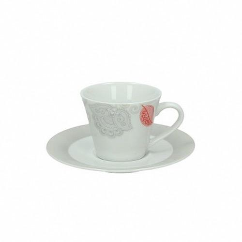 Чашка с блюдцем кофейная  100 мл RED CORA ARENA RED CORA красный, серыйЧашка с блюдцем сделана из высококачественного фарфора. Благодаря ее оригинальному дизайну, она станет отличным подарком на любой праздник вашим друзья или близким. Коллекционеры посуды и настоящие ценители по достоинству оценят этот набор.<br>