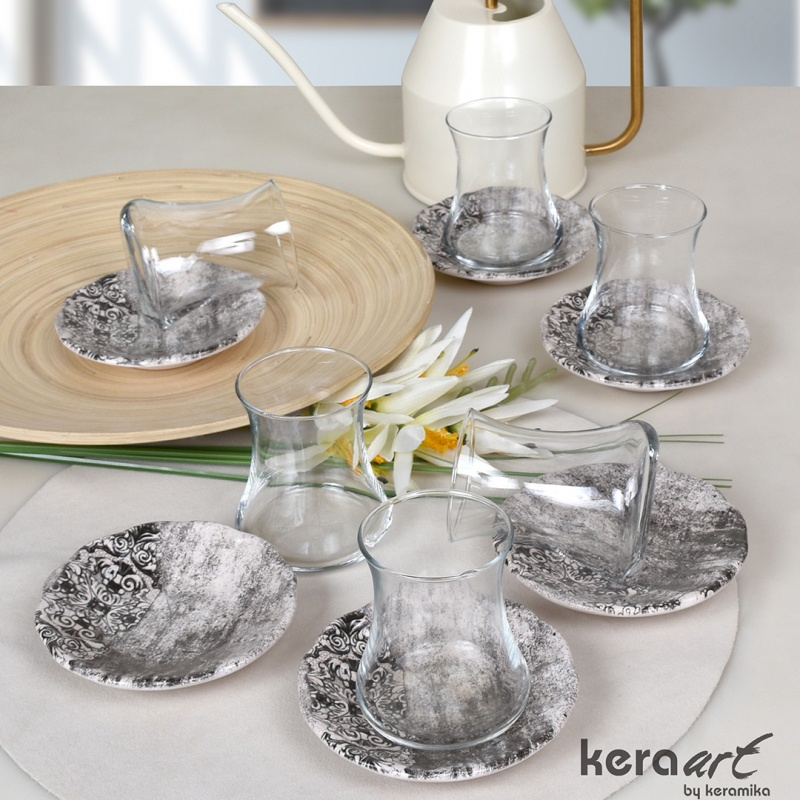 "Набор чайных пар 12 предметов Keramika "",Армуд мрамор"","