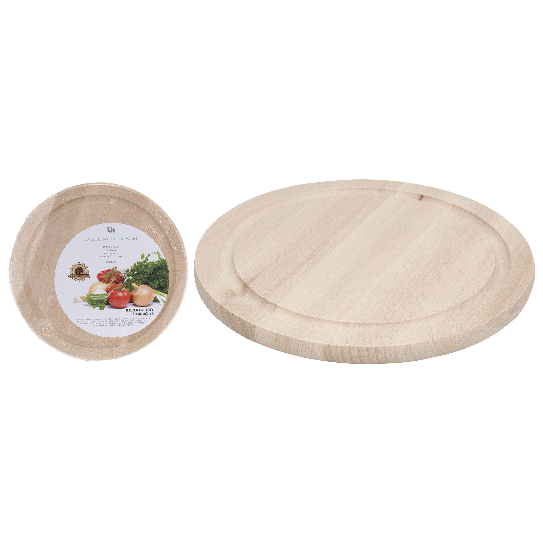 Доска разделочнаяРазделочная доска Excellent Houseware – это отличное решение для любой современной кухни. Доска имеет круглую форму диаметром 25 см, поэтому на ней удобно резать и разделывать продукты различного размера. Изделие выполнено из натурального дерева. Достоинство деревянной разделочной доски в ее антибактериальных свойствах. Исследователями доказано, что вредоносные микроорганизмы не живут на поверхности дерева, а попадая внутрь структуры, погибают там. Кроме того, доски из дерева не оставляют свои частицы на продуктах, а значит, не наносят вреда здоровью человека. Разделочную доску легко мыть обычной водой, она отличается долговечностью и прочностью.<br>