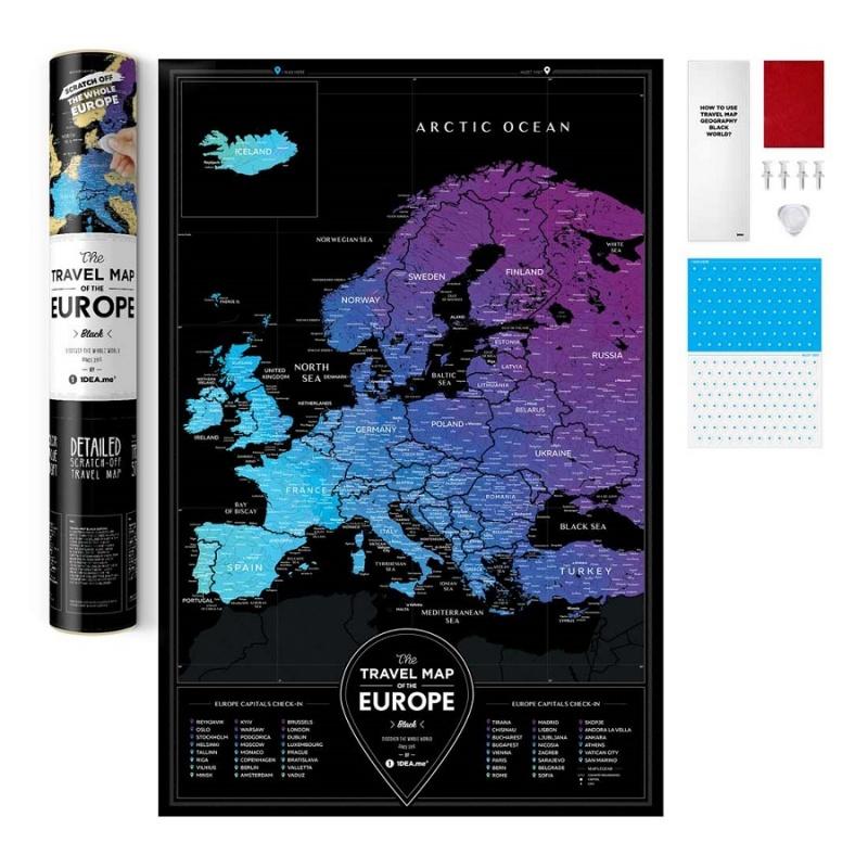 Карта Travel Map Black Europe