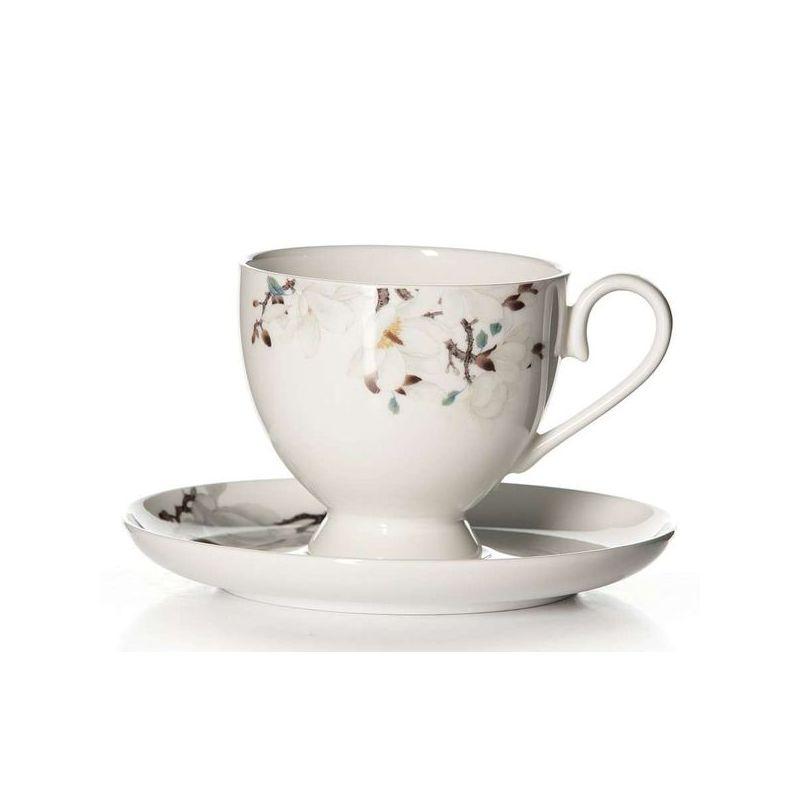 Пара чайная Магнолия арт 204Костяной фарфор Royal Aurel отличается повышенной прочностью и стойкостью к истираниям. Подойдет как для ценителей классического, так и современного дизайна.<br>