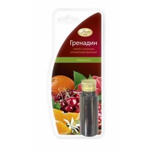 Сиропсахарн.ароматизир.сароматомГренадинГренадин - это густой сладкий сироп красного цвета на основе сока нескольких фруктов, обычно применяемый для приготовления коктейлей, напитков и других изделий. Сироп имеет яркий, терпкий и насыщенный аромат. Используется для ароматизации соусов, десертов, коктейлей, кремов и мороженного.<br>